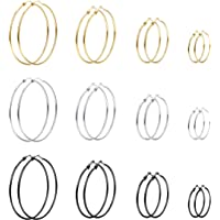 Milacolato 12Pairs Stainless Steel Endless Hoop Earrings for Women Girls Silver/Gold/Rose-gold/Black Tone 30/40/50/60 BGS