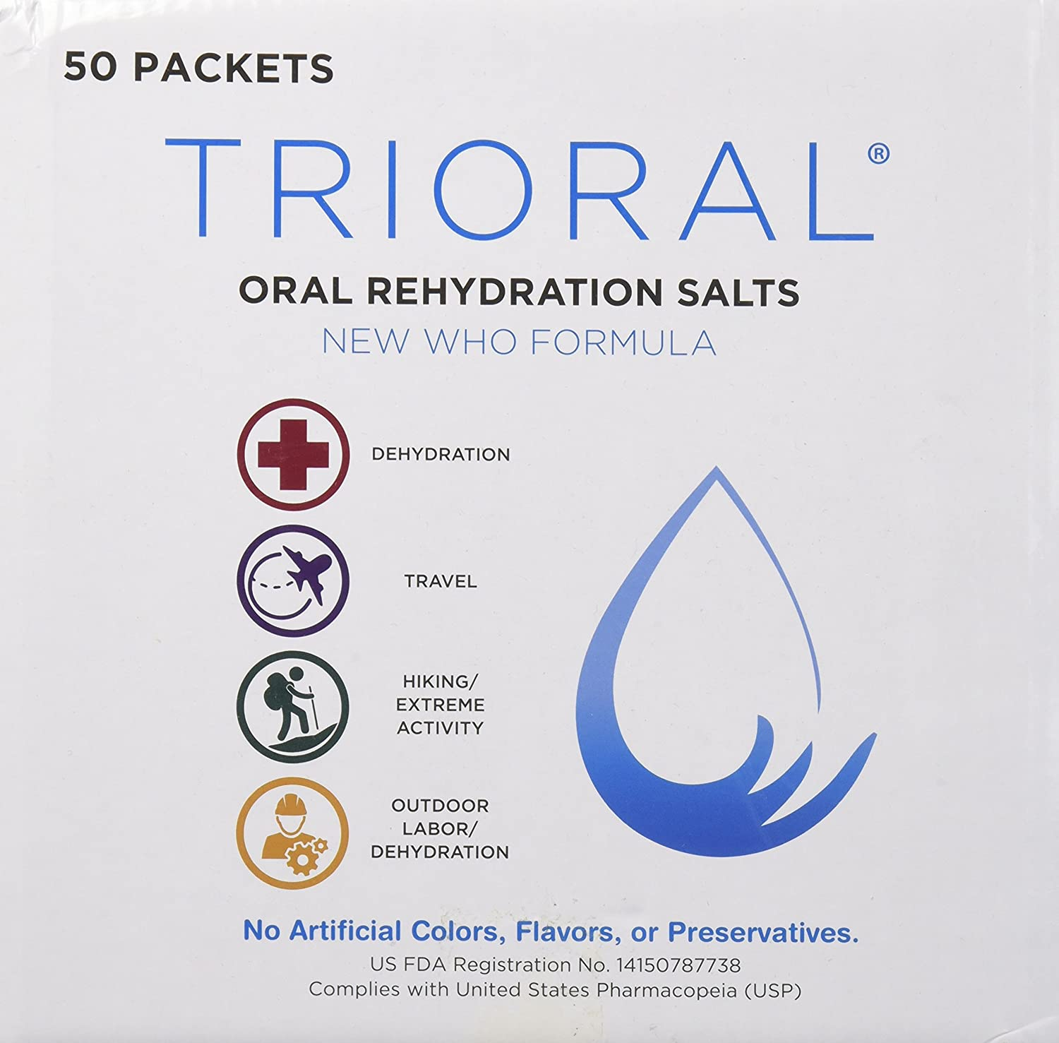 Amazon.com: Oral Rehydration Salts ORS (50, One Liter Packets/Box) World Health Organization (WHO) New Formula for Food Poisoning, Hangovers, Diarrhea, ...