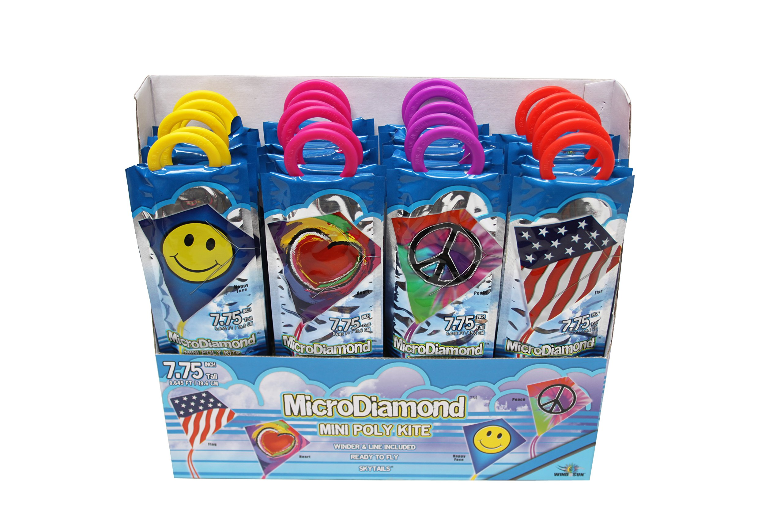 X-Kites MicroDiamond Party Pack Assortment of Poly Nylon Kites, 7.75'', 24-Piece PDQ