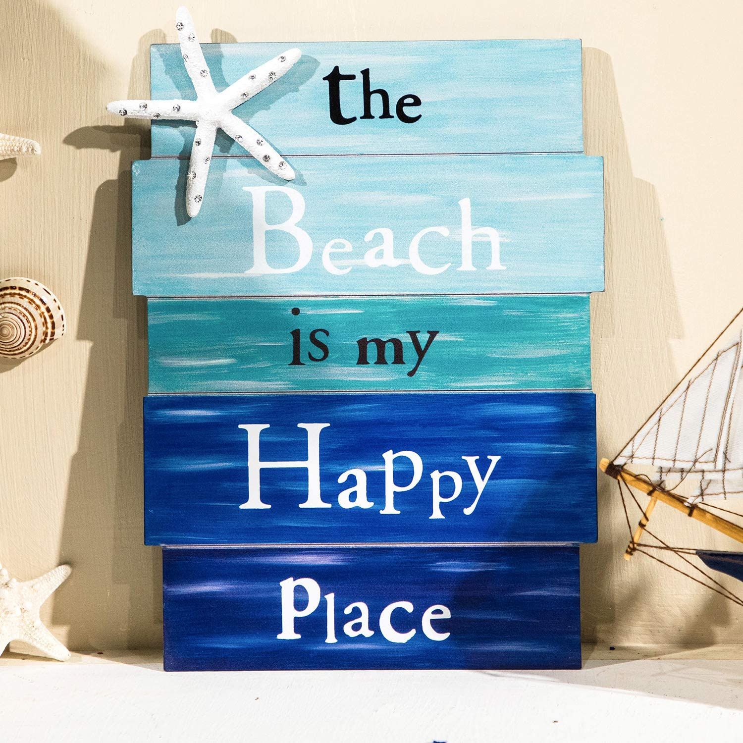 Honoson Wooden Beach Plaque Door Wall Plaque Decor with Diamond-Studded Starfish The Beach is My Happy Place Wooden Wall Decorative Sign