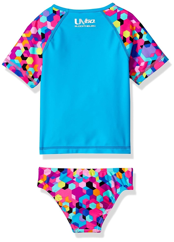 Speedo Girls Two Piece Swim Set Short Sleeve Printed Rash Guard