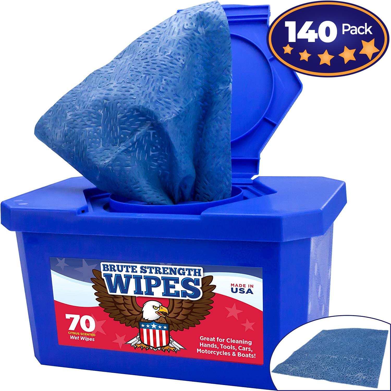 industrial-grade、no-rinse Wet Wipes 140パックby Nova供給。カットグリースから、手ツールと作業サーフェスquickly-残留物なし。Heavy Duty、Texturedショップタオル。Big、シトラスの香りつきバケットRags B077K51JZT