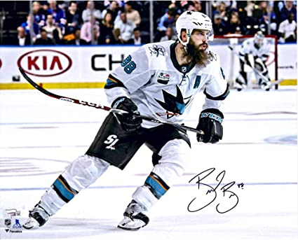 """804ff12f3 Brent Burns San Jose Sharks Autographed 16"""" x 20"""" White Jersey  Skating Photograph -"""