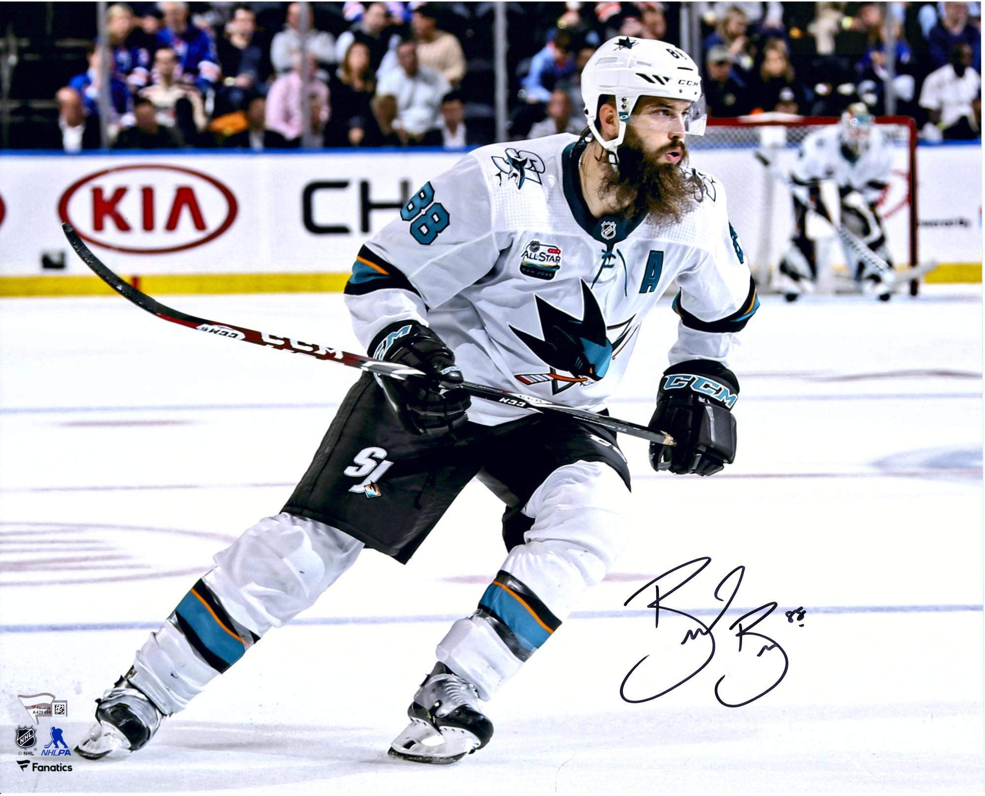 """Brent Burns San Jose Sharks Autographed 16"""" x 20"""" White Jersey Skating Photograph Fanatics Authentic Certified"""