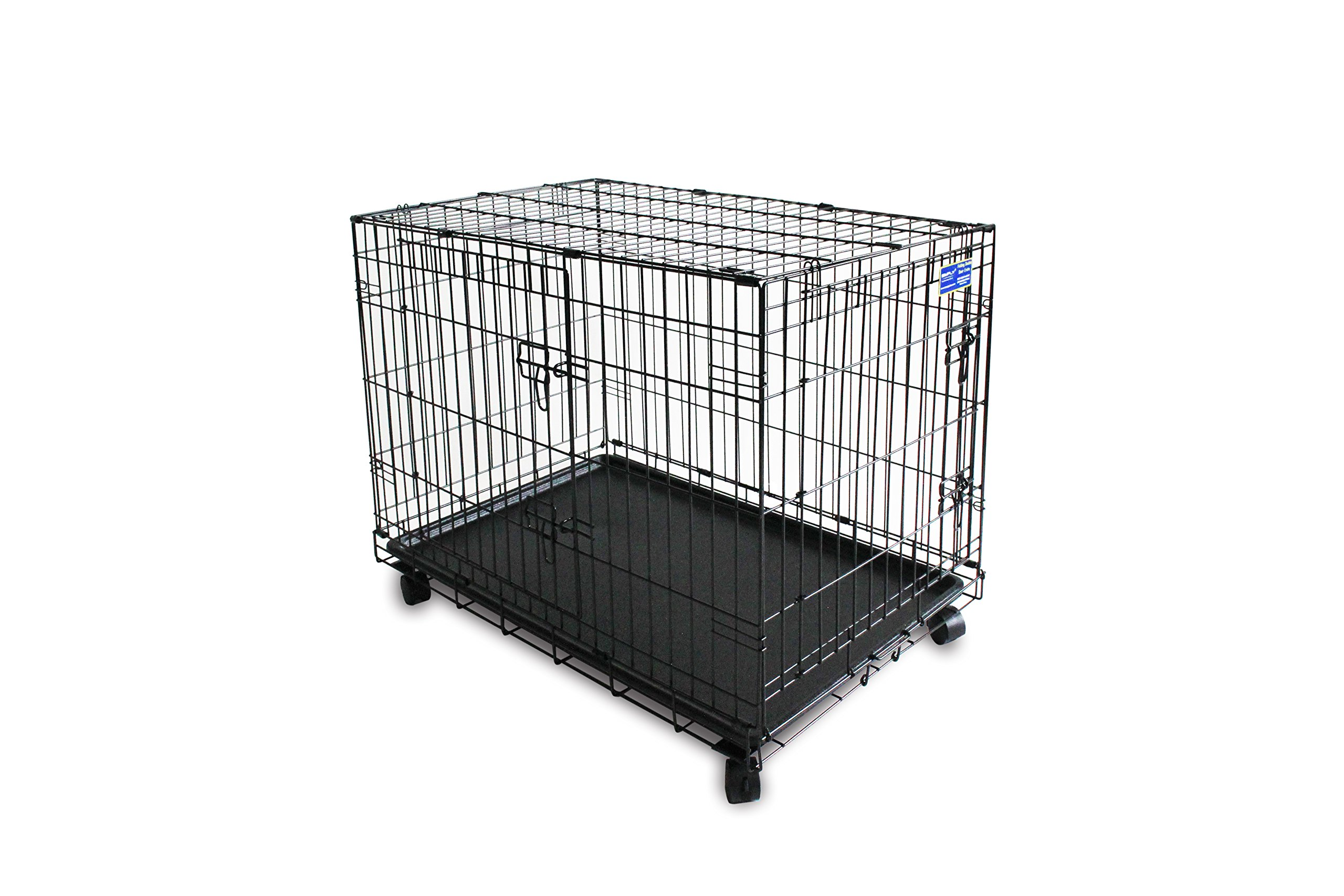 Simply Plus 36'' Dog Crate [Newly Designed Model], Double-Doors Folding Metal w / Divider & Tray 36'' x 23'' x 27'' l Dog Crate