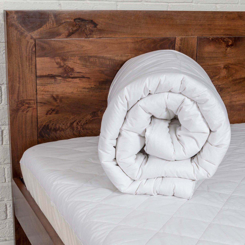 Homescapes 100% Pura Seda de Morera Blend Protector de colchón para colchones de hasta 36 cm de Profundidad 700 G/m² Pesado Peso Luxury Topper, Blanco, ...