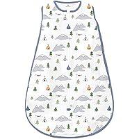 Amazing Baby Muslin Sleeping Sack with 2-Way Zipper, Outdoor Adventure with Denim Trim, Small