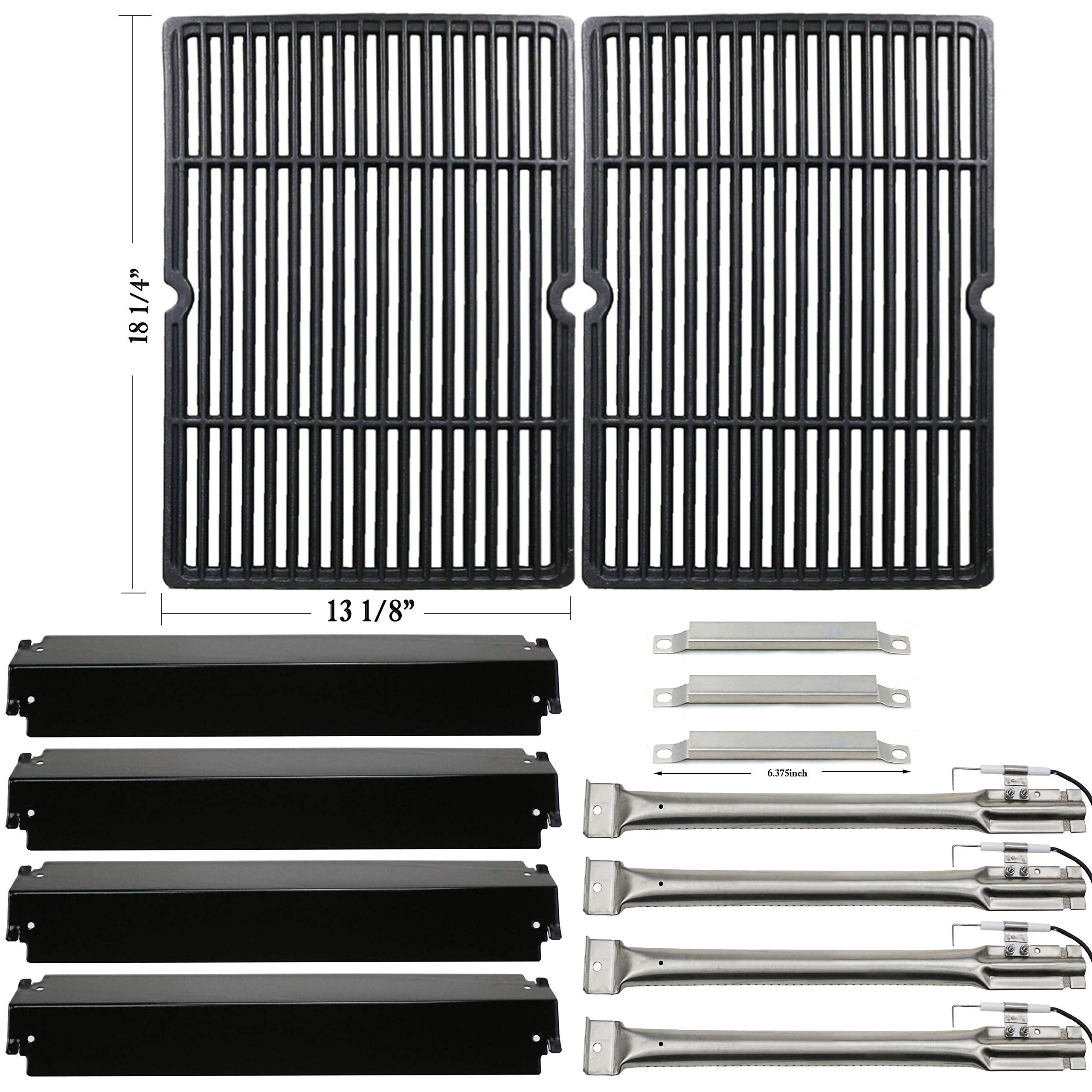 Hisencn Replacement Rebuild Kit for Charbroil Commercial 463268606, 463268007 Gas Grill Burner,Carryover Tubes, Heat Plates, Grill Cooking Grids Grates, Igniter