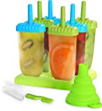 Top-Quality Plastic Popsicle Mold Set – 6 Ice Pop Makers - BPA Free – Folding Funnel & Cleaning Brush – by Utopia Home