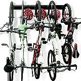Bike Rack Garage Storage 5 Bicycles Hooks Wall Mount Bike Hanger Indoor Space Saving (8 Hooks and 3 Rails)