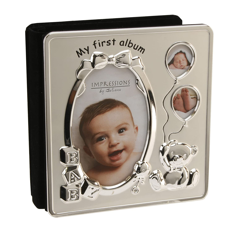 Deluxe Satin Silver Baby Photo Album - My First Album Shudehill Giftware 50040