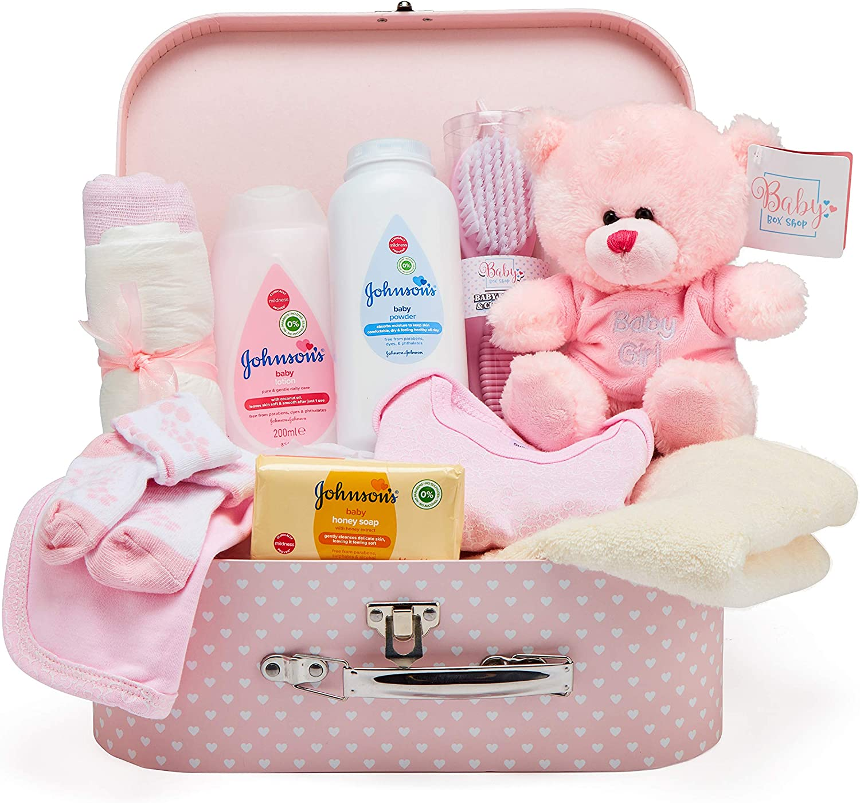 Caja Regalo con Accesorios Bebé – Cesta Regalo en Rosa con Ropa para Niñas, Osito de Pelu-che y Regalos Originales para Bebés Recién Nacidos