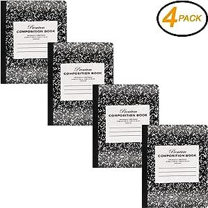 EmRaw - Cuaderno de notas de composición, 100 hojas, color negro, para oficina, dibujo, libros, reuniones, cuadernos y cuadernos, 4 unidades, para la escuela: Amazon.es: Oficina y papelería