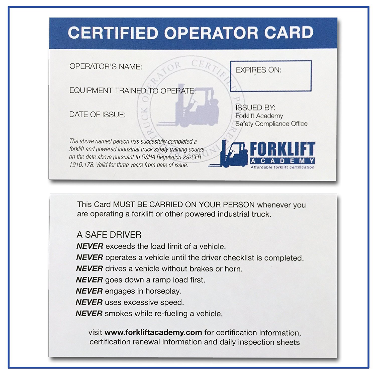 Amazon forklift certification wallet cards package of 20 amazon forklift certification wallet cards package of 20 home improvement xflitez Choice Image