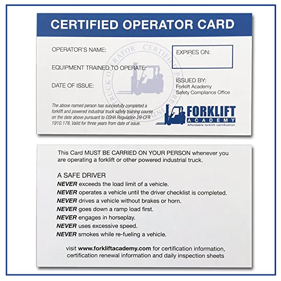 Amazon Forklift Certification Wallet Cards Package Of 20