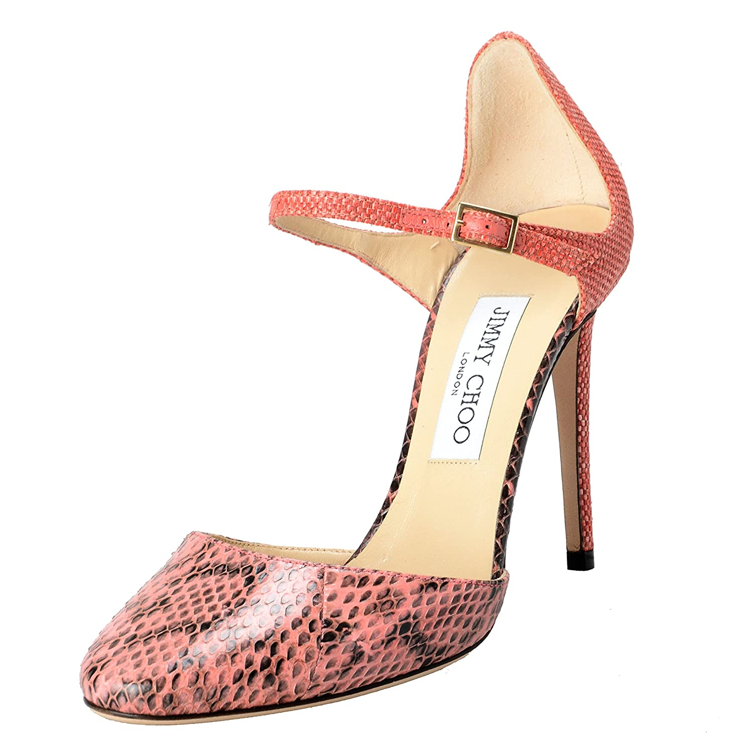 2ee145664a Amazon.com | JIMMY CHOO Women's Snake Skin Coral Pink Ankle Strap High  Heels Pumps Shoes | Pumps