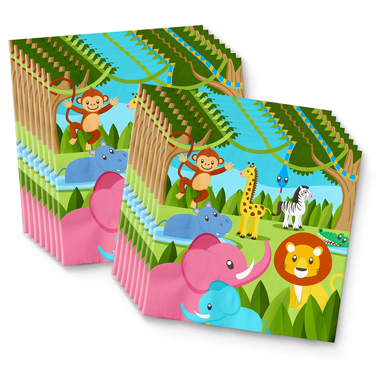 Safari Jungle Animals Birthday Party Supplies Set Plates Napkins Cups Tableware Kit for 16 Birthday Galore