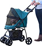 Pet Gear No-Zip Happy Trails Lite Pet Stroller for Cats/Dogs, Zipperless Entry, Easy Fold with Removable Liner, Storage…