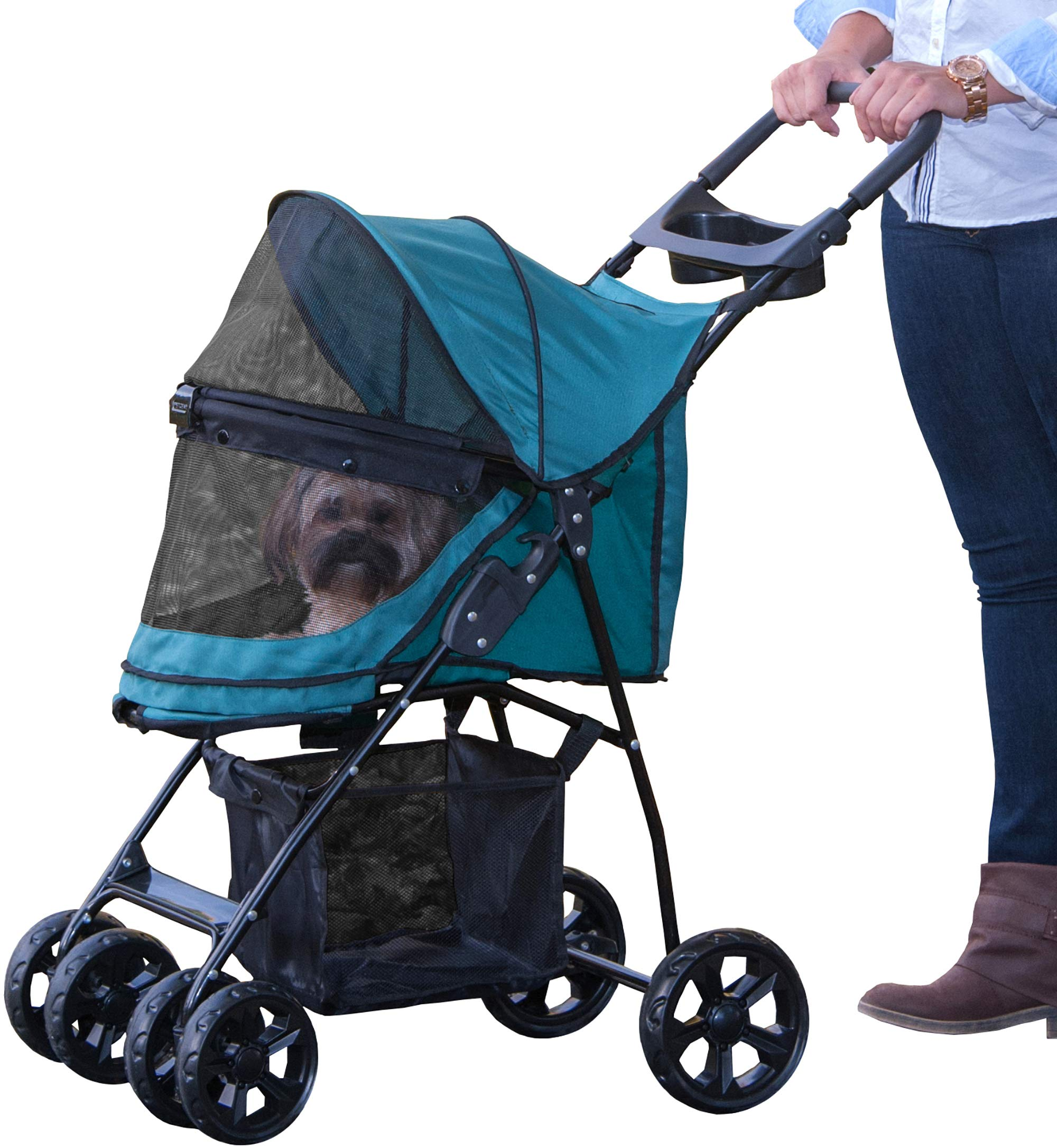 Pet Gear No-Zip Happy Trails Lite Pet Stroller for Cats/Dogs, Zipperless Entry, Easy Fold with Removable Liner, Storage Basket + Cup Holder by Pet Gear