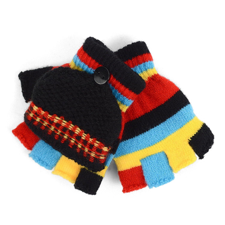 Children/'s Striped Convertible Mitten Gloves for Winter