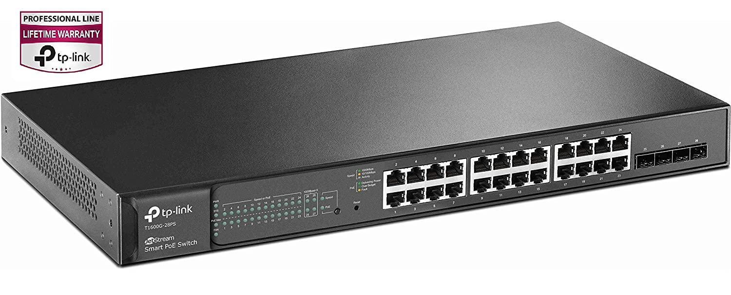 TPLink Jetstream 24 Port PoE switch  Smart Managed  24 Gigabit PoE Port 4 SFP Slot 192W  Up to 4k
