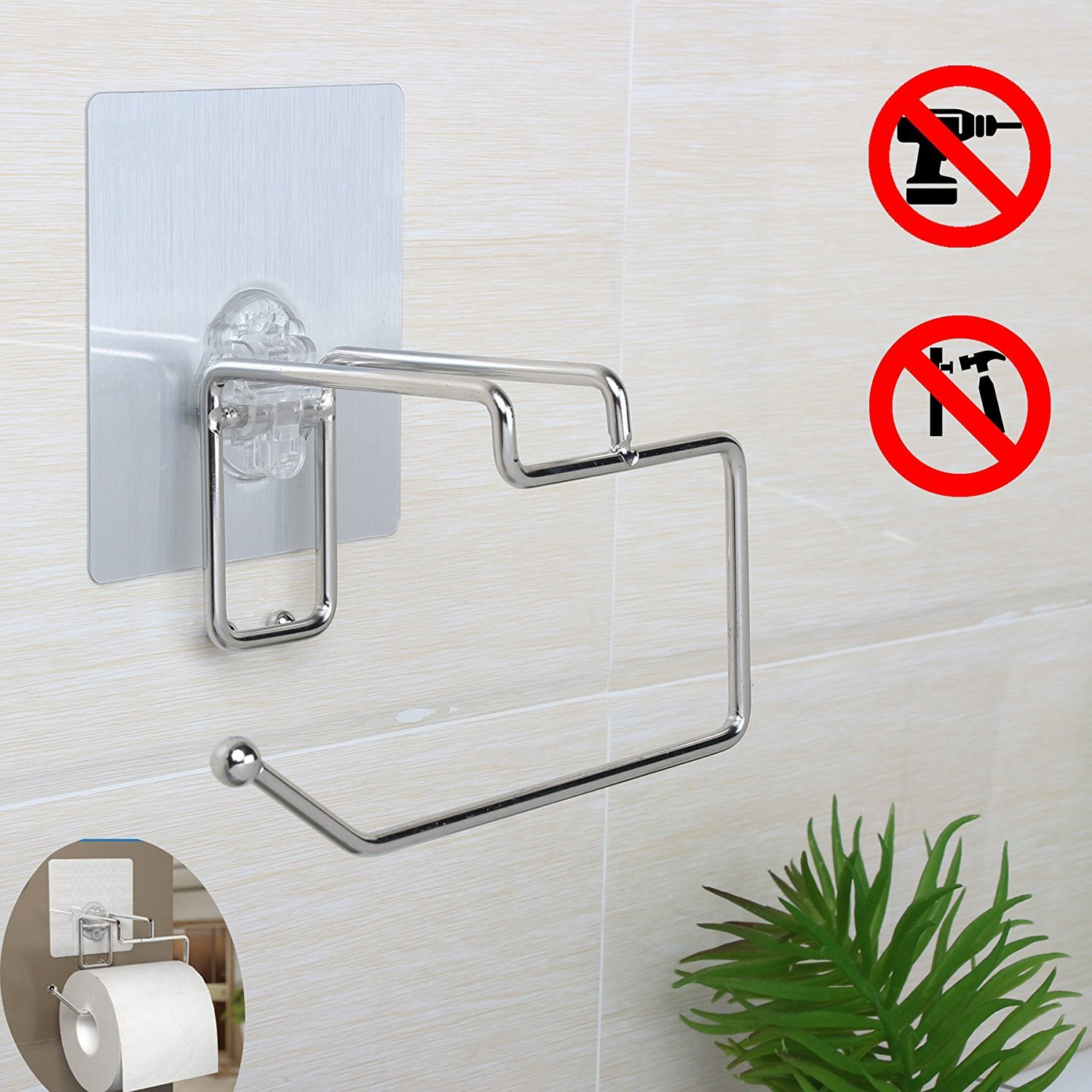 Amazoncom Self Adhesive Wall Mounted Toilet Paper Tissue Holder