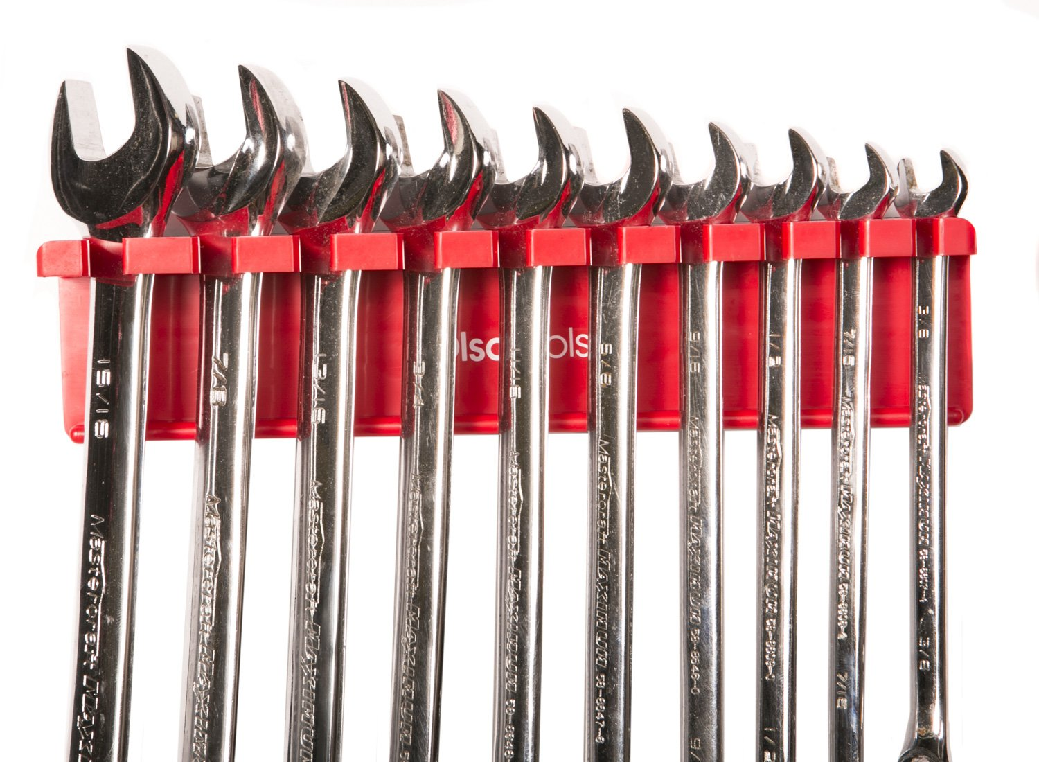 Olsa Tools Magnetic Wrench Organizer | Wrench Holder Fits Wrenches SAE 3/8'' thru 15/16'' & Metric 10mm thru 19mm | Premium Quality Tool Organizer (RED)