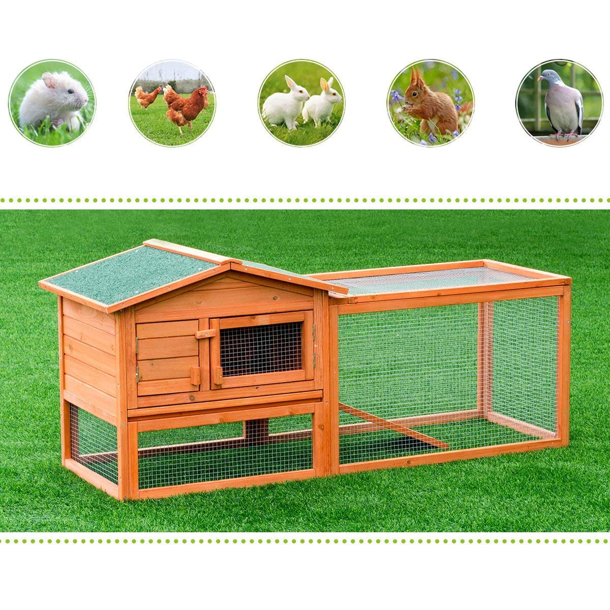 Tangkula Chicken Coop Outdoor Wooden Chicken Coop Garden Backyard Farm Bunny Hen House Rabbit Hutch Small Animal Cage Pet Supplies for Chicken, Duck, Rabbit, etc (61.5'' x 20.5'' x 27''(L x W x H)) by Tangkula (Image #4)