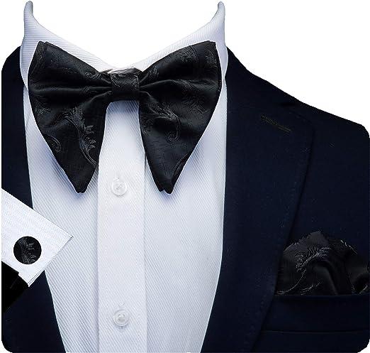 Mens Bow Tie Pre Tied Gray Black Vintage Adjustable Neck Size Tux Wedding Formal