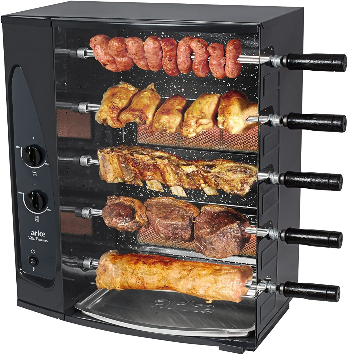4 Skewers motor Authentic Brazilian Skewer Rotisserie Charcoal BBQ Grill