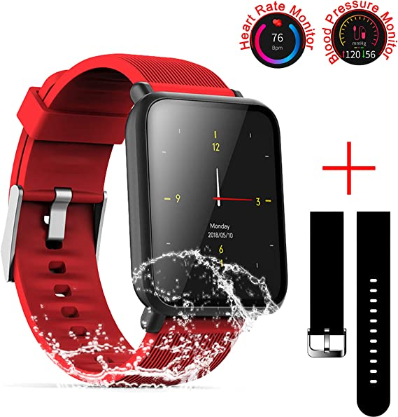SZHAIYU Blood Pressure Heart Rate Monitor Smart Watch Android iOS IP67 Waterproof Sport Fitness Trakcer Watch Men Women Smartwatch (Red)