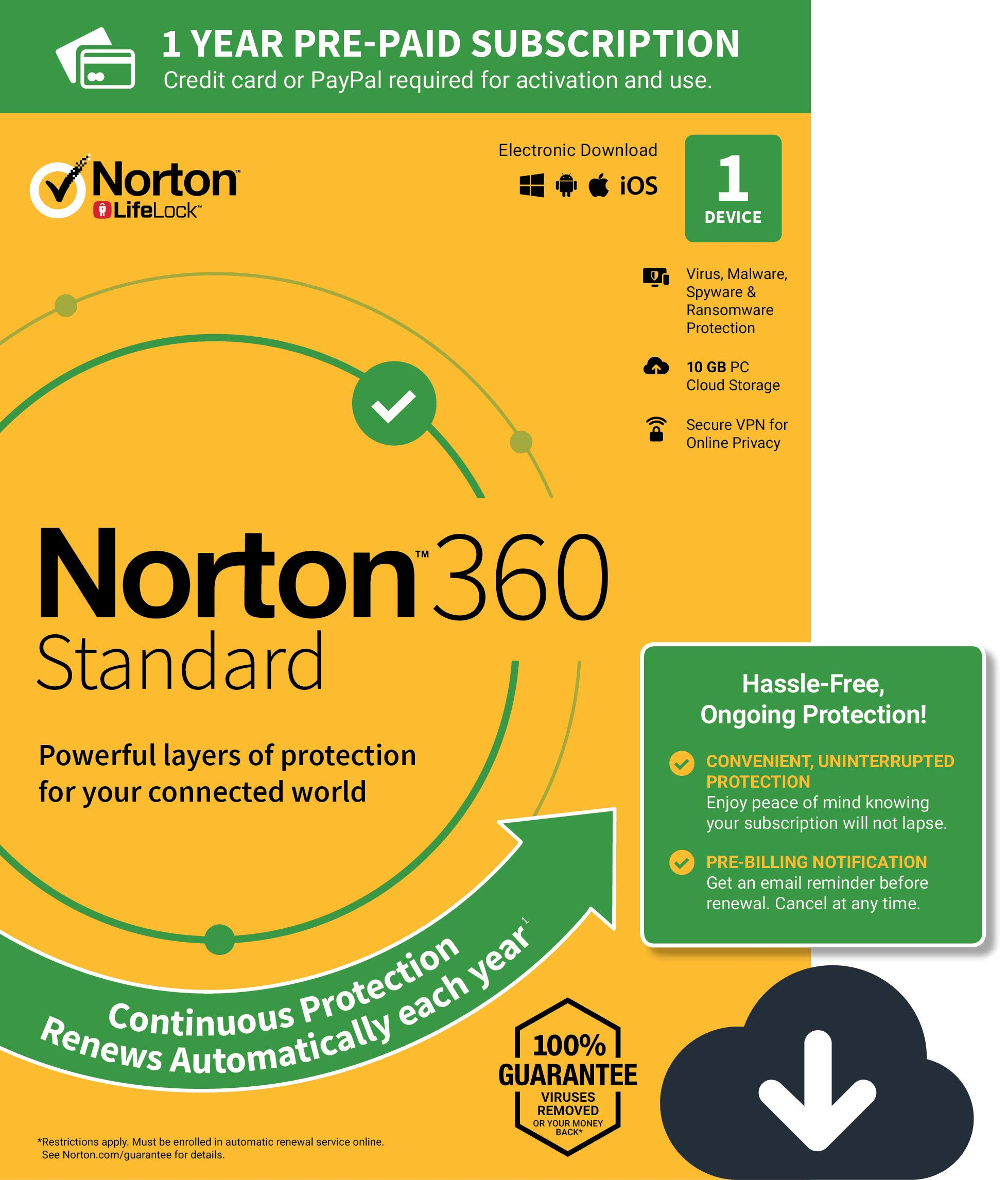 NEW Norton 360 Standard - Antivirus software for 1 Device with Auto Renewal - Includes VPN, PC  Cloud Backup & Dark Web Monitoring powered by LifeLock [PC/Mac Download] by Symantec