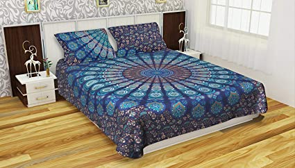 New Peacock Doona Duvet Cover Cotton Comforter Bed Set Queen Size Indian Mandala