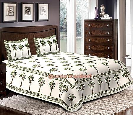 HANDICRAFTOFPINKCITY Hand Block Print Bed Sheet, Cotton Palm Tree Bed Cover