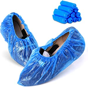 Shoe Covers Disposable 100 pack(50 pairs) Xymy Disposable Shoe Boot Covers Non Slip Waterproof Shoes Protectors Covers Durable Boot&Shoes Covers One Size Fits All (CPE Plastic,Blue)