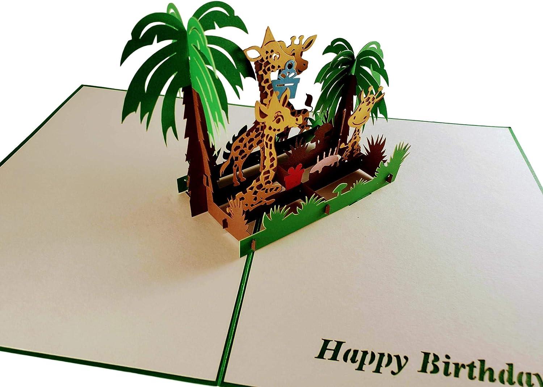 Fun Best Wishes Cute Happy Birthday Animals Mom Dad Fancy Safari Funny Celebrations Half-Fold iGifts And Cards Awesome Giraffes Birthday 3D Pop Up Greeting Card Feliz Cumplea/ños Unique