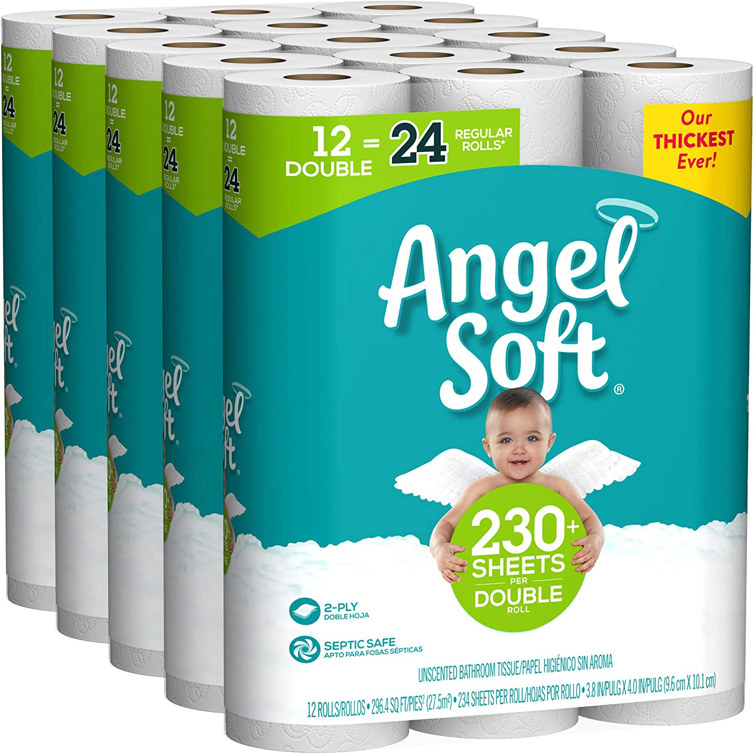 Angel Soft Toilet Paper, 60 Double Rolls, 60 = 120 Regular Rolls, Bath Tissue, 5 Packs of 12 Rolls