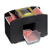 Relaxdays 10020521 - Macchinetta Mescola Carte Automatica, con 4 Livelli, Funzionamento a Batteria, con Bottone, Nero