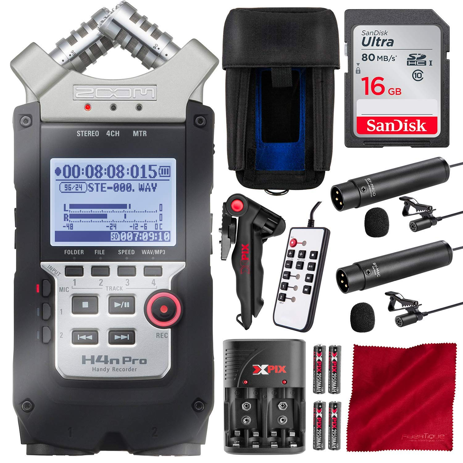 Zoom H4N PRO Digital Multitrack Handy Recorder with 16GB Card and Dual Lavalier Microphone Accessory Bundle by Zoom - Photo Savings (Image #1)