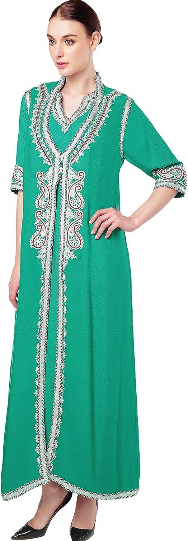 vetement femme musulmane muslima abaya robe islamique Caftan brod/é jalabiya rayonne dubai maxi dress longue 1723