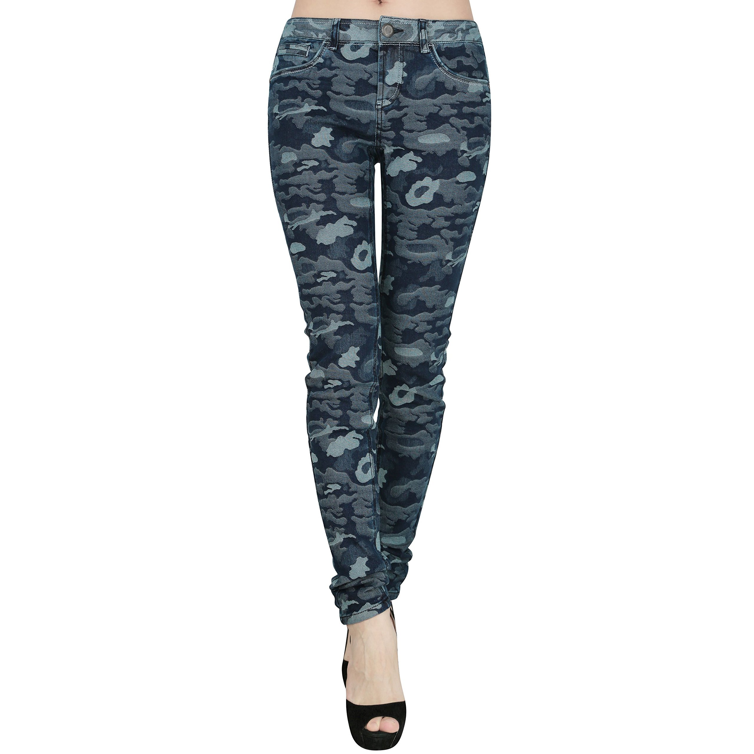 jntworld Ladies Jeans Slim Skinny Supersoft Navy Camouflage Womens Jeans, Navy Blue, M