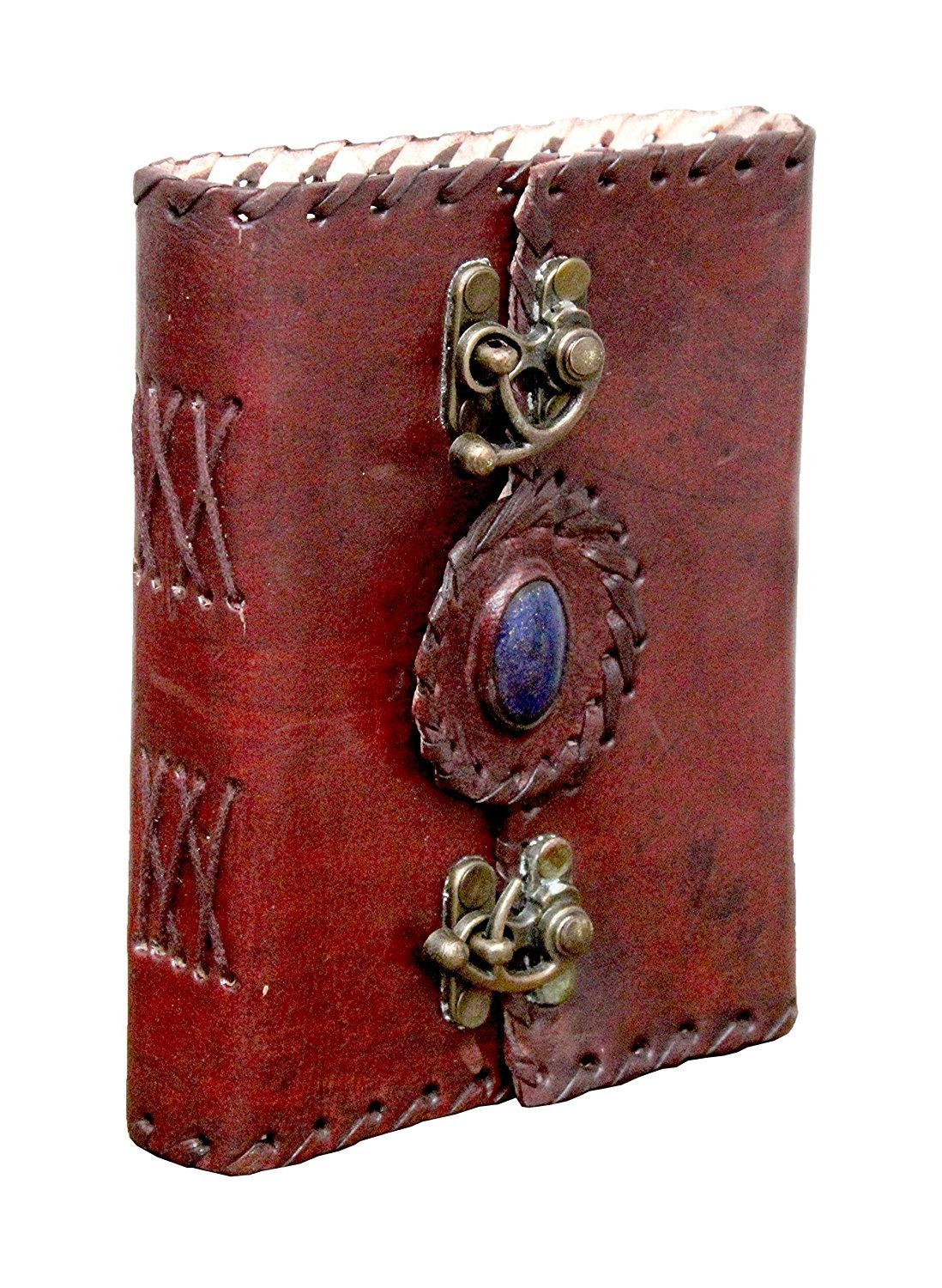 TUZECH Pure Genuine Real Vintage HunterLeather Diary Leather Journal Handmade paper For office Home to Write Poem Daily Update With attractive 2 Metal Lock and Engraved shinning stone 7 Inches