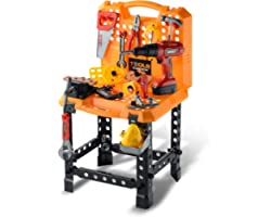 Toy Choi's Kids Toy Standard Workbench Play Set, Toddler 82 Pieces Pretend Play Series Toy Tool Construction Work Shop Kit Be