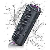 Ortizan Portable Wireless Speaker, IPX7 Waterproof Bluetooth Speaker with LED Lights, Outdoor Speaker 24W Loud Stereo Sound,