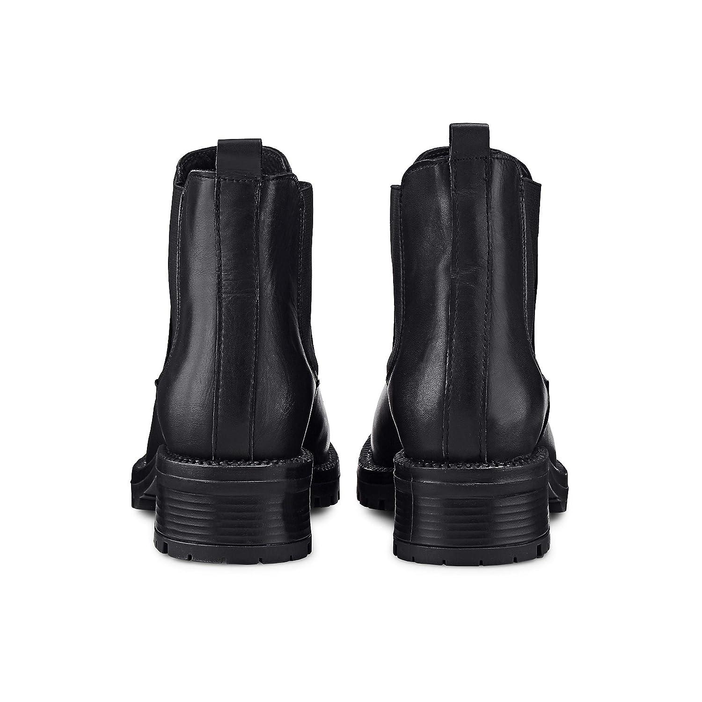 Another A Damen Damen Chelsea-Stiefel aus Leder, Stiefeletten Stiefeletten Stiefeletten in Schwarz mit robustem Block-Absatz 040d88