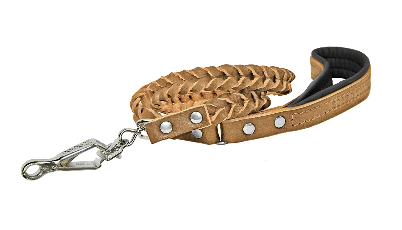 Dean & Tyler Tan Comfort Braid Sprenger Snap Leash with Black Padding, 4-Feet by 3 4-Inch