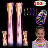 """300 Pack Glow Sticks with 100 22"""" Necklaces + 200 8"""" Bracelets Connector Included; Glow in The Dark Halloween Party Bulk Supp"""