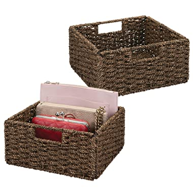 mDesign Natural Woven Seagrass Closet Storage Organizer Bin - Open Top, Built-in Handles, Collapsible Closet, Bedroom, Bathroom, Entryway, Office - 5.25  High, Pack of 2, Chestnut Brown