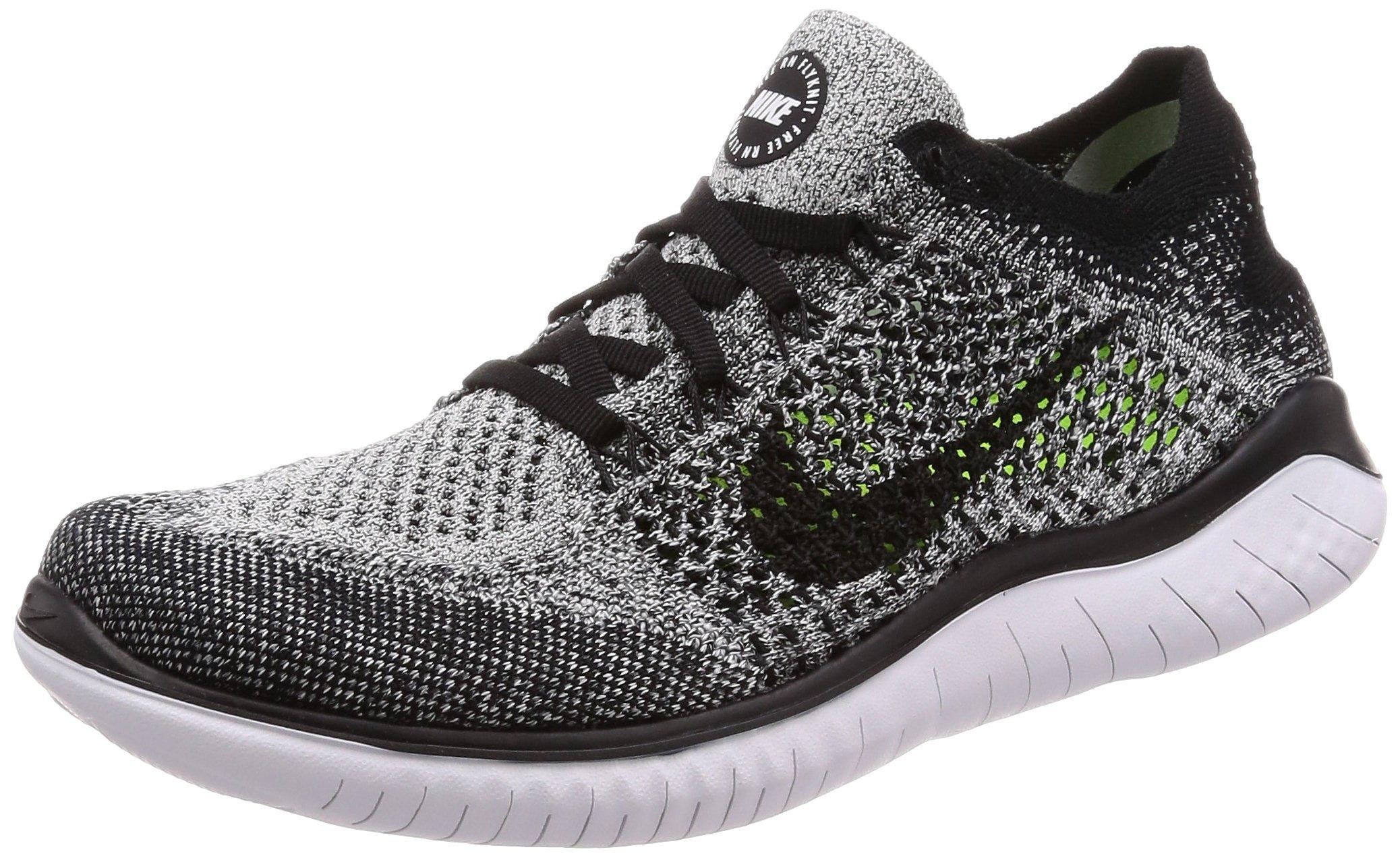 Nike Free RN Flyknit 2018 Women's Running Shoe (5.5 B US, Black/White)