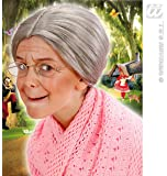 Ladies Grey Granny Wig With Bun Old Woman Nan Nanny Nanna Fancy Dress